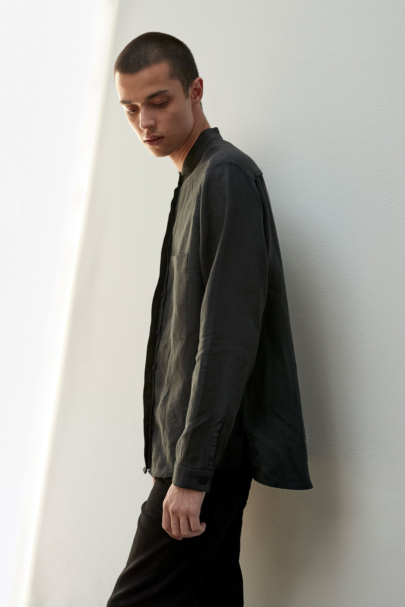 Unisex, organic linen button up shirt.