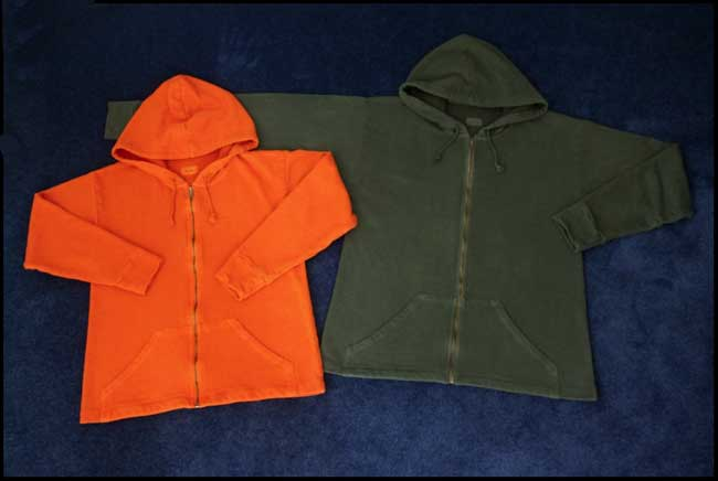 Hemp and organic cotton hoodies.