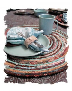 Brown/Aqua table setting.