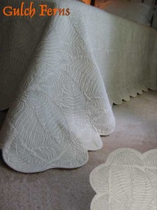 Gulch Ferns, queen size organic cotton quilt.