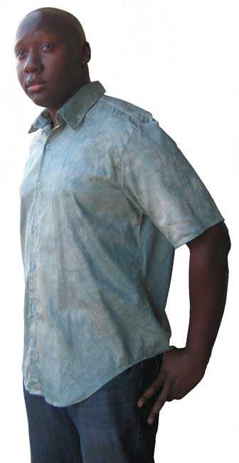 Hand-dyed, organic cotton short sleeve shirt. Sage